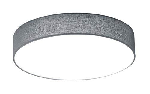 Trio Leuchten 621911211 Lugano A+, LED Deckenleuchte, nickel, 11 watts, Integriert, Stoffschirm Grau, 30 x 30 x 9 cm
