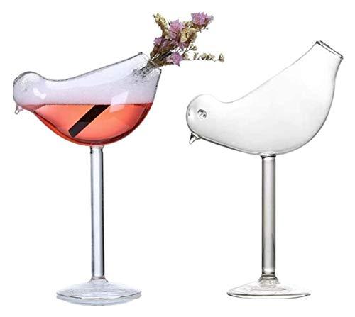 SoGuDio Decantador Copa de cóctel, diseño de Vidrio de Cristal de Copa de cóctel de diseño de pájaro Creativo, Vidrio de Cristal Libre de Plomo, Conjunto de 2, 200 ml Decantador de Whisky