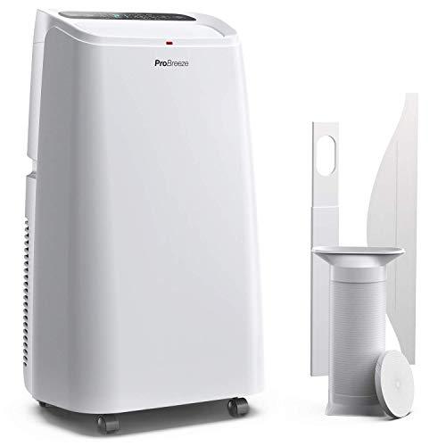 Pro Breeze™ 4-in-1 Mobile 12000 BTU Klimaanlage mit Smart App und Fernbedienung - Heizen und Kühlen, Ventilator, Luftentfeuchter - Klimagerät mit Energieklasse A, Fensterabdichtung Set und 24h Timer