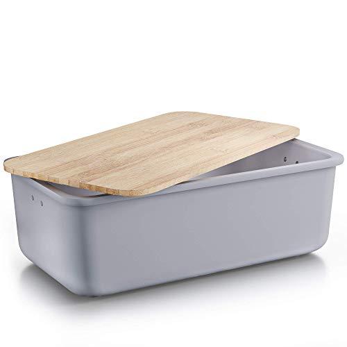 Destyx® Bambus Brotkasten mit Schneidebrett aus Bambus anthrazit zur Brotaufbewahrung - Ökologisch aus Holz mit Luftlöchern für frisches Brot