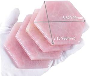 Rose Quartz Decor Coaster, Natural Pink Crystal Coasters Gold Edge Set of 4 (Hexagon 3.5'')