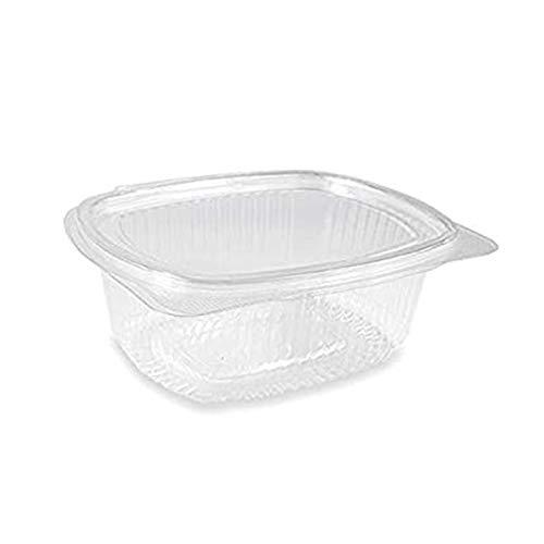 Vaschette ovali in PET Scatola da 50 vaschette 750cc trasparenti usa e getta con coperchio unito Contenitori monouso di plastica con chiusura ermetica
