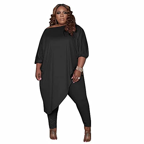 FOEOYO Plus Size Womens 2 Piece Outfits Tracksuits long Sleeve Slant Shoulder Asymmetrica Tops Bodycon Pants Sweatsuit Sets