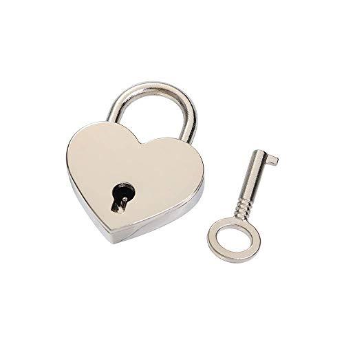 N\C - Lucchetti a forma di cuore, stile vintage, stile antico, mini lucchetti con serratura a chiave per viaggio, matrimonio, scatola di gioielli diario libro valigia