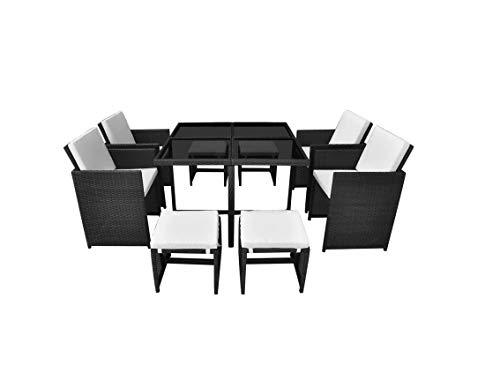 Pissente de jardín de resina trenzada encajable, mesa cuadrada de jardín con sillones para jardín, terraza, patio, café, 1 mesa de 4 sillas + 4 taburetes