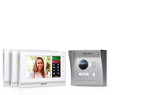 GOLIATH IP 2 Draht Video Türsprechanlage, 1,3 Megapixel Kamera, 3X 7 Innen-Station, Smartphone Handy App, Gegensprechanlage, Video-Sprechanlage, Aufputz Außenstation, Einfamilienhaus Set