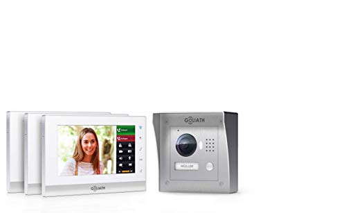 Goliath IP 2-draads video-intercomsysteem, 1,3 megapixel camera, 3 x 7 binnenstation, smartphone mobiele telefoon, intercominstallatie, video-intercominstallatie, opbouw, buitenstation, eengezinswoning set