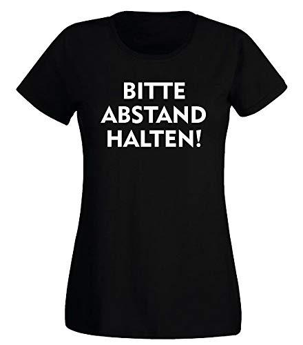 G-graphics Damen T-Shirt Bitte Abstand halten! - mit Druck auf Brust & Rücken 078.1381 (2XL)