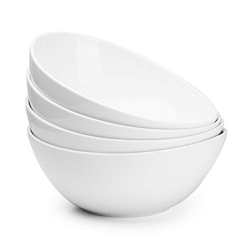 Sweese Porcelain Bowls - 42 Ounce for Cereal, Salad and Popcorn - Set of 4, White