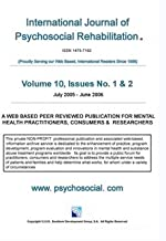 International Journal of Psychosocial Rehabilitation - Volume 10