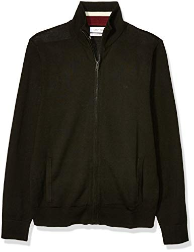 Calvin Klein Men's Merino Sweater Full Zip, black, Large