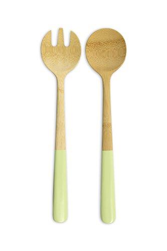 Pebbly nba106Salatbesteck, Bambus, Grün Pistazie, 31x 10x 5cm