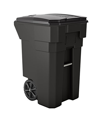 "Suncast Commercial BMTCW65 65 gal Wheeled Trash Can 40.86"" Height, 27"" Width, 31.26"" Length, Plastic, Gray"