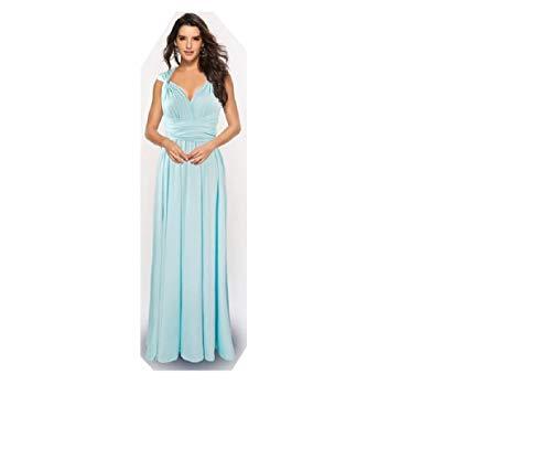 Infinity Kleid inklusive Bandeau Top Brautjungfernkleid Gr. 34-48 viele Farben Wickelkleid lang, 70 Verschiedene Wickelarten Brautkleid, Abendkleid Kleid lang Maxikleid (Hellblau, 1 (34-42))
