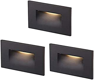 Cloudy Bay 120V Dimmable LED Step Light,3-Pack,3000K Warm White 3W 100lm,Indoor/Outdoor Stair Light,Oil Rubbed Bronze
