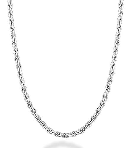 Miabella Solid 925 Sterling Silver Italian 2mm, 3mm Diamond-Cut Braided Rope Chain Necklace for Men Women Made in Italy 16, 18, 20, 22, 24, 26, 28, 30 Inch (30, 2mm)