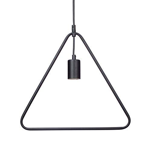 Relaxdays Lampadario Lampada Sospensione Moderno KONTUR Design Triangolo Contorno Metallo per Tavolo da Pranzo HxLxP 125x33x4,5 cm E27, 40 W, Nero, Triangolare