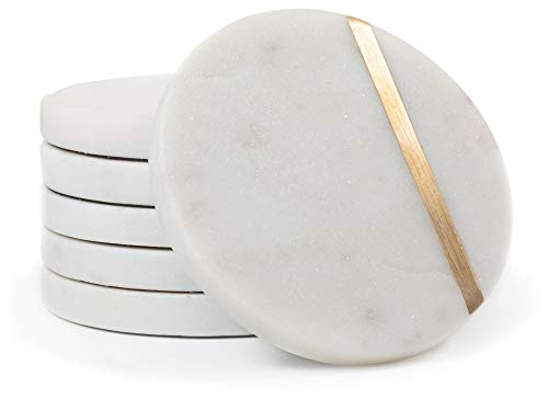 """Cork & Mill Marble Coasters - Handcrafted Natural Stone Coasters - 4"""" Wide Drink Coasters - White with Brass Inlay - Set of 6"""