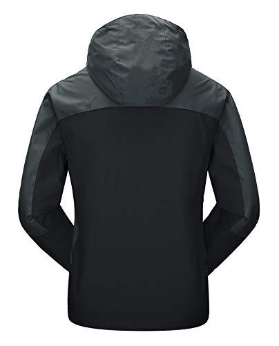 MAGCOMSEN Windproof Jacket Mens Softshell Mountain Jackets Winter weight Jackets Men's Windbreaker Tactical Jackets for Autumn Climbing Camping Jackets, S, Black