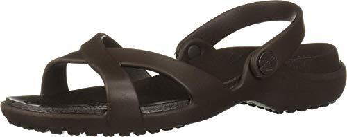 Crocs Meleen Crossband Sandal W, Sandalias de Punta Descubierta para Mujer, Marrón (Espresso 206), 42/43 EU