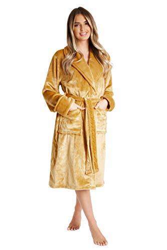 CityComfort Peignoir Femme | Robe de Chambre Femme Polaire Super Douce à Capuche | Peignoir de Bain Spa Épais Absorbant | Sortie de Bain | Idée Cadeau Femme Fille Ado (L, Moutarde)