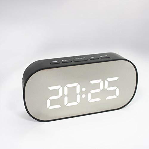 zyr LED Spiegel Wecker Digitale Tischuhr Nachtlicht Snooze mit Temperatur Elektronische Doppelzweckuhr Home Decor, G.