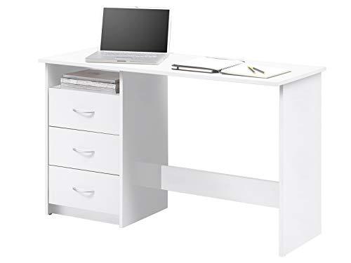 möbelando Schreibtisch Computertisch Arbeitstisch Bürotisch Laptoptisch Büromöbel Mack I Weiß