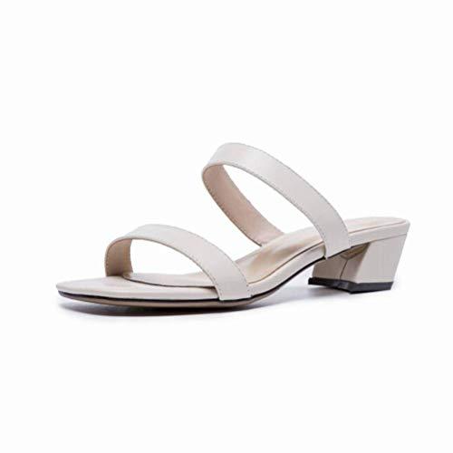 Women Sandals Sandales Femme Été Noir Mot Talon Haut avec des Chaussures à Bout Ouvert Épais avec des Sandales Chaussures Femme Romaine, White, 36