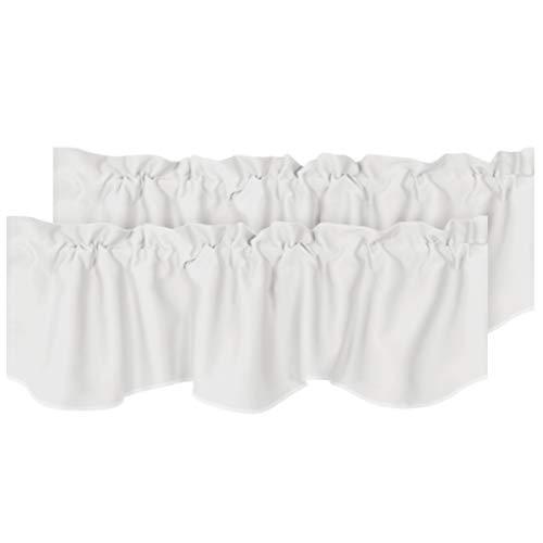 H.VERSAILTEX White Blackout Valances Room Darkening Window Valances for Living Room Rod Pocket Curtain Valances for Kitchen 2 Pack, 52 inch x 18 inch