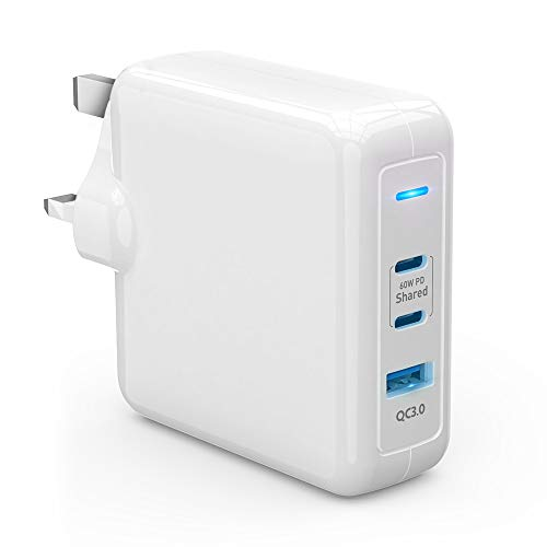 USB C Charger, Rocketek 78W 3-Port Wall Charger 60W PD 3.0 Type C Fast Charging Adapter and 18W USB 3.0 Charger for USB C Laptops, Mac Book, Pad Pro, Phone, Galaxy, Pixel, Nintendo and More