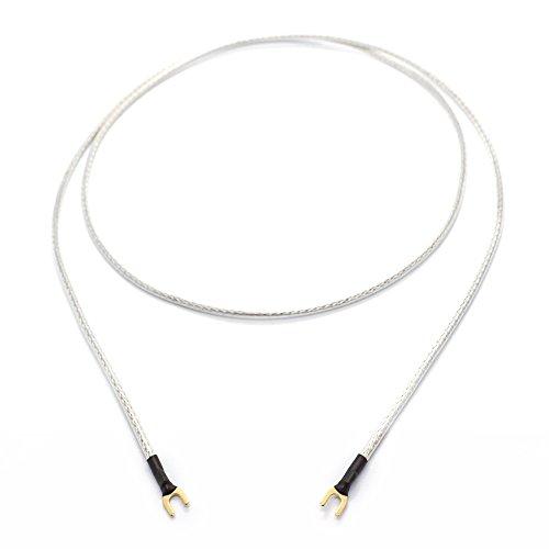 Selected Cable 4m Erdungskabel für Plattenspieler Phonogeräte und Mischpulte mit Masseanschluß inkl. vergoldeter Gabelschuh 1x 0,50mm² Masseleitung transparent Silber Geflechtschirm 400cm