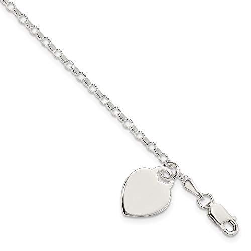 Ryan Jonathan Fine Jewelry Sterling Silver Heart Charm Pendant Bracelet, 7.25'