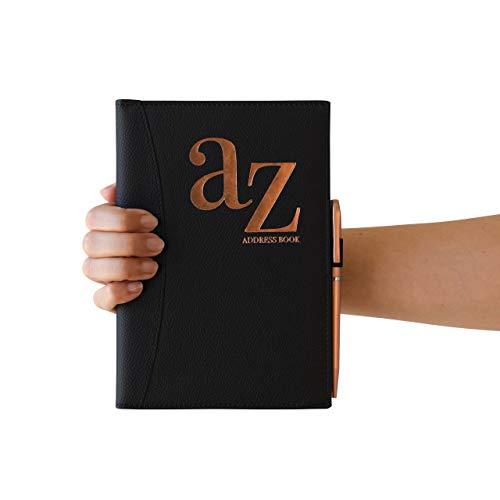 Adressbuch A bis Z Adressbuch A-Z Index Hardcover mit Stift A5 Adressbuch Home Office Arbeit schwarz