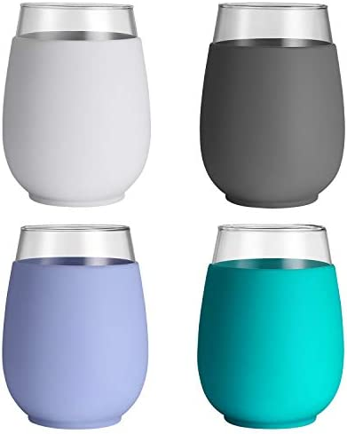 tronco Wine Glass Set of 4 with Silicone Sleeves 17oz 100 BPA Free Stemless product image