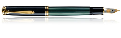 Pelikan 986422 Kolbenfüllhalter Souverän M 800 mit Bicolor-goldfeder 18-K/750, Federbreite F, 1 Stück, schwarz/grün
