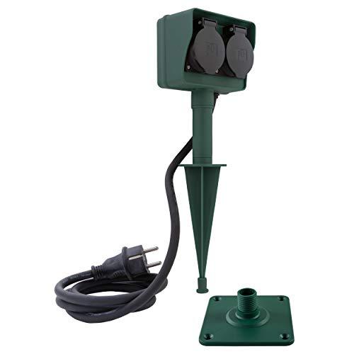REV Ritter 0595004555 - Presa elettrica doppia con innesto per terreno, 1,4 m