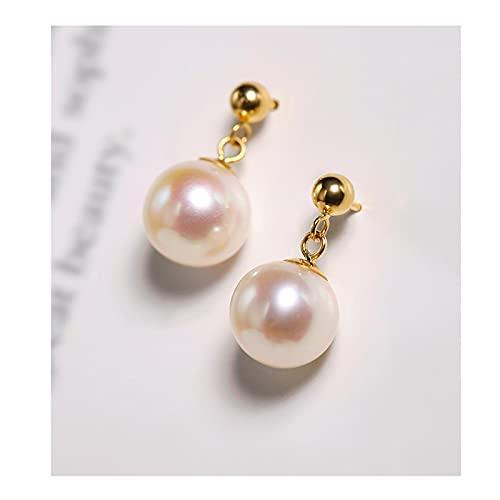 GUOQUN-SHOP Conjunto Pendientes de Perlas de Agua Dulce 7-8mm Luz Fuerte 18k Pendientes de Oro para Novia Pendientes para Mujer de Oreja para Mujer