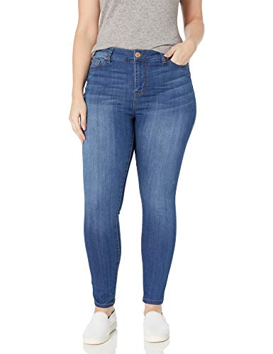 Celebrity Pink Jeans Women's Plus Size Infinite Stretch Mid Rise Skinny Jeans, Kings of Leon Md, 24W