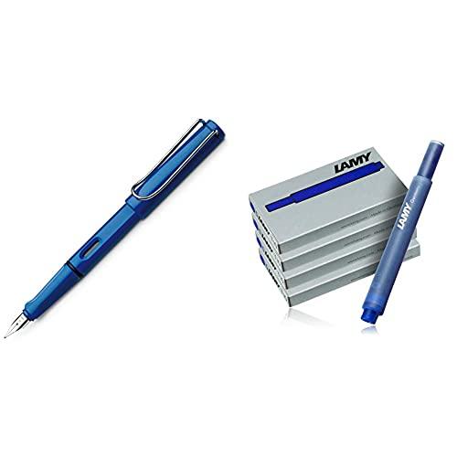Lamy Fountain Safari Pluma estilogrfica, color azul + Cartuchos de tinta para pluma estilográfica 2077 4er-Set, T10, color azul, 4 paquetes (20 cartuchos)