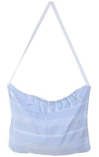 Cacala - Conjunto de Toalla para baño Turco y Bolsa Peshtemal, algodón, Azul Celeste, 100 x 180 x 0.5 cm