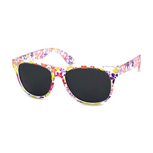Kiddus POLARISIERTE Sonnenbrille für Jungen und Mädchen. UV400 100% Schutz gegen ultraviolette Sonnenstrahlen. Ab 6 Jahren. Schlagfest, sicher, leicht und komfortabel (36 hellrosa mit Blumen)