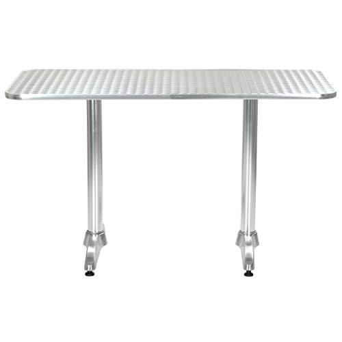 Festnight Tuintafel Tafel outdoor staande tuin vrije tijd salontafel 120x60x70 cm aluminium zilverkleurig