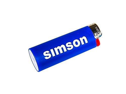 SIMSON BIC-Feuerzeug blau, Schnelle Flitzer aus Suhl - mit Chromkappe