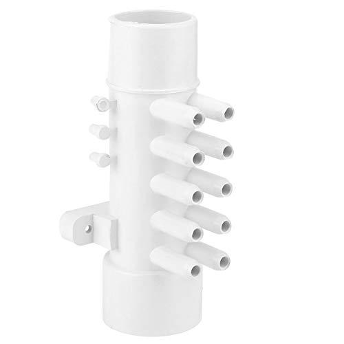 Leylor Colector de plomería para Piscina - 1.5in 10 mm Colector de plomería para Piscina de PVC de 10 Puertos con 6 Tapones para bañera de Aguas Termales Accesorios para SPA