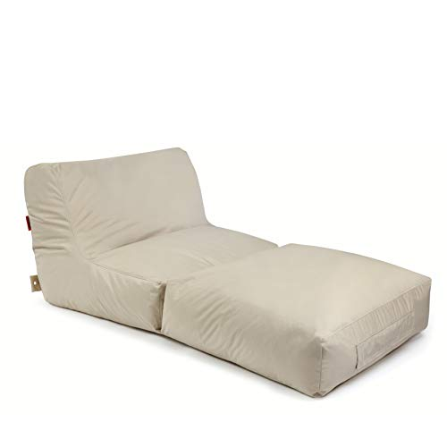 Outbag 01PEAPLU-BEI Pouf, Polyester, Beige, 180 x 90 cm