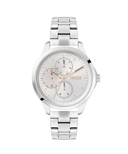 HUGO Damen Analog Quarz Armbanduhr mit Edelstahlarmband 1540048