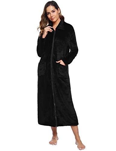 Abollria Bata y Albornoz Invierno para Mujer,Franela Full-Length Plush Robe Mujer Largo Bata de Baño Manga con Bolsillos y Cremallera Ropa de Dormir Bata