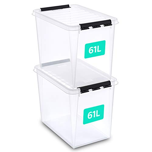 SmartStore aufbewahrungsbox mit deckel groß, 61 l, 2er-Pack, verstärkt, transparent, für Lebensmittel geeignet, mit Clipverschluss, stapelbar, BPA-freies Plastik, 59 x 39 x 43 cm (L x B x H)