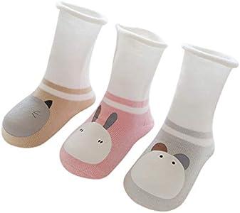 DEBAIJIA 3 Pares de Calcetines para Bebés Unisex Suave Elástico Calcetines Algodón Cálido Lindo Colorido Respirable Antiestático Anti-Sensible Regalo para Bebés de 1-3 años - Caqui Rosa Gris - M