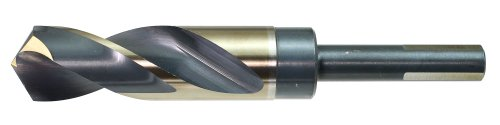 Drillco 1000EF Series High-Speed Steel Reduced-Shank Drill Bit, Black/Gold Oxide Finish, Round Shank with Flats, Spiral Flute, 135 Degree Split Point, 1-1/8